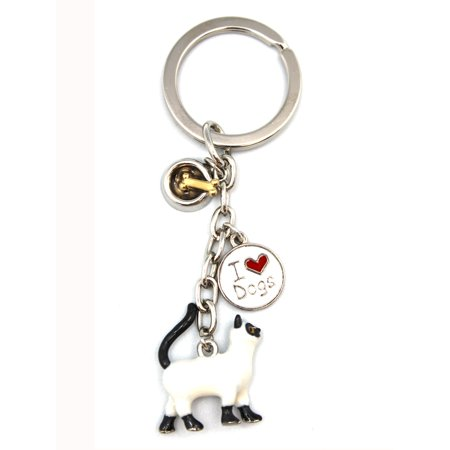 I Love Animals Keychain - White Cat & I Heart Dogs