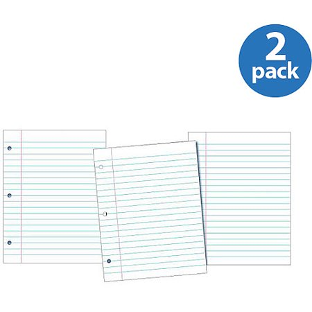 (2 Pack) School Smart 3-Hole Punched Filler Paper with Margin, 8