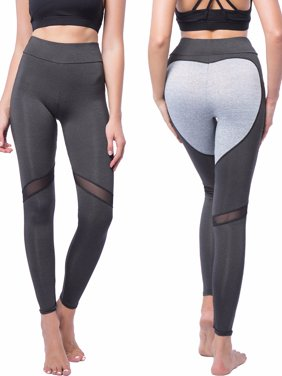 e4df6c3c18ce0 Product Image FITTOO Activewear Women's Buttocks Heart Shape Pattern Yoga  Pants with Mesh Patchwork Workout Sports Leggings
