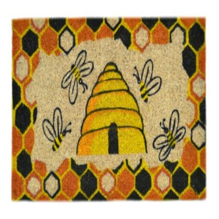 Imports Decor Decorated Coir Doormat, Beehive Design, 18-Inch by 30-Inch (Beehive Decor)