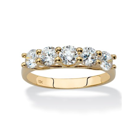 Round Cubic Zirconia Single Row Ring Band 1.25 TCW in Solid 10k Yellow Gold