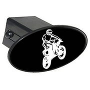 """Dirt Bike White On Black 2"""" Oval Tow Trailer Hitch Cover Plug Insert"""