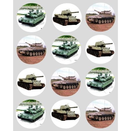 12 Army Tanks rice paper fairy / cup cake 40mm toppers pre cut cake decoration (Army Cakes)