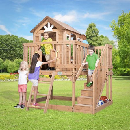 backyard discovery scenic heights wooden cedar playhouse 87136