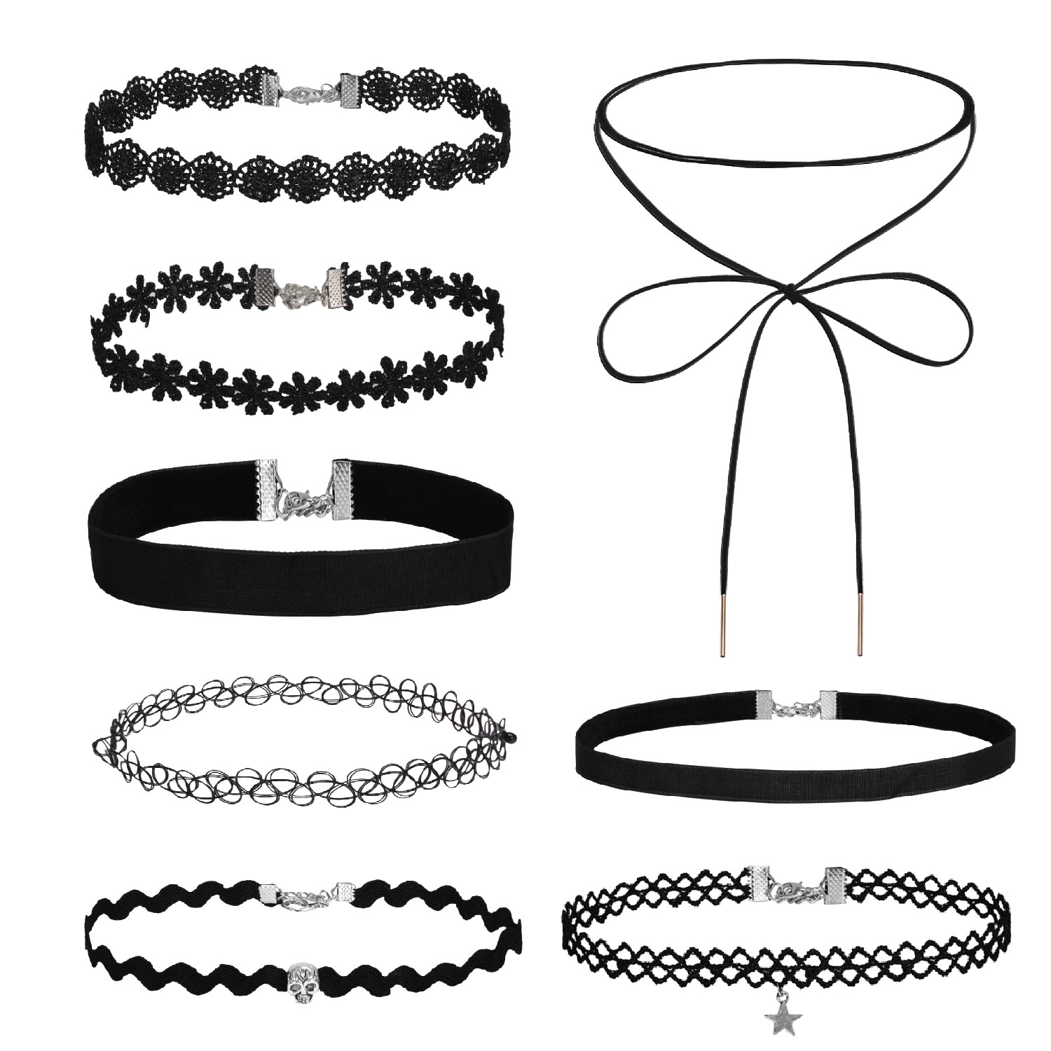 BodyJ4You® Choker Necklace Velvet Classic Vintage Lace Collar Girls Tattoo Gothic 8 Pieces