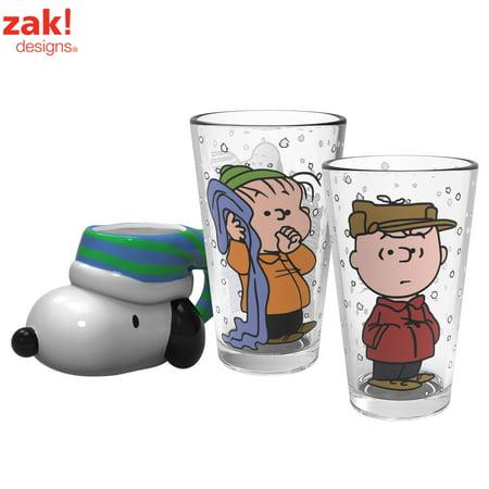 Peanuts Charlie Brown, Linus & Snoopy Coffee Mug & Pint Glasses Charlie Brown Linus Lucy