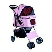 New MTN-G Deluxe Folding 4 Wheel Pet Dog Cat Stroller Carrier w Cup Holder Tray - Pink