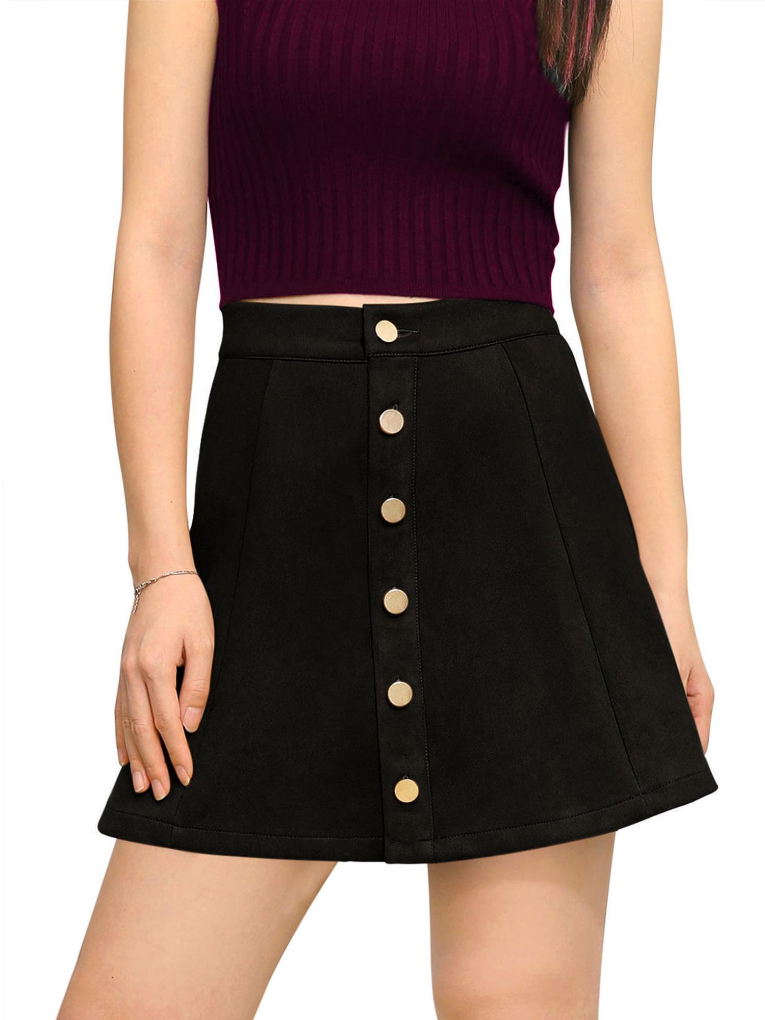 unique bargains women's bonded suede button closure mid rise a-line skirt