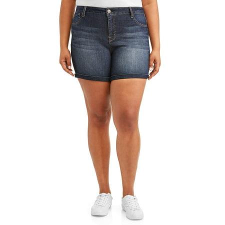 Ava & Alex Women's Plus Size Roll Cuff Bermuda