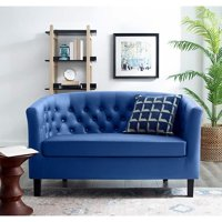 BSD National Supplies Winston Classic Blue Button Tufted Loveseat