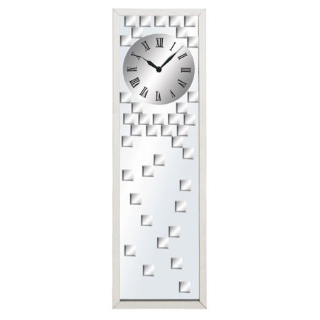 Decmode Stainless Steel and Glass Mirror Clock, Multi (Clock Mineral Glass)