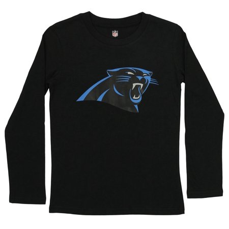 Outerstuff NFL Youth Carolina Panthers Long Sleeve Team Logo Cotton Tee, Black