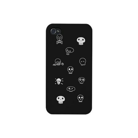 Skull Pattern Apple iPhone 4 Black Phone Case Cute Halloween Cover