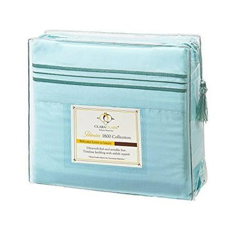 Clara Clark Premier 1800 Series 4pc Bed Sheet Set - Cal King, Aqua Light Blue, Hypoallergenic, Deep Pocket - image 1 of 1