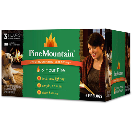 Pine Mountain 6-Pack, 3-Hour Firelogs, Easy Lighting