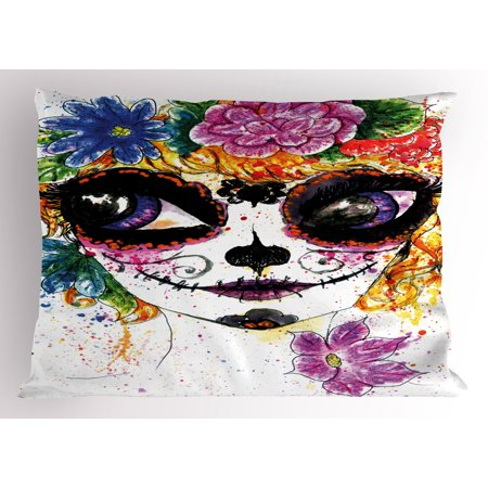 Sugar Skull Male (Sugar Skull Pillow Sham Cultural Celebration Mexican Traditional Make Up Girl Face in Watercolors Art, Decorative Standard Queen Size Printed Pillowcase, 30 X 20 Inches, Multicolor, by)