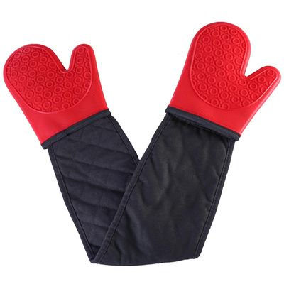 Image of SHIYAO Double Oven Gloves - Heat-Resistant Silicone Oven Gloves Non-Slip with Cotton Lining for Kitchen, Baking, Cooking, Microwave Red