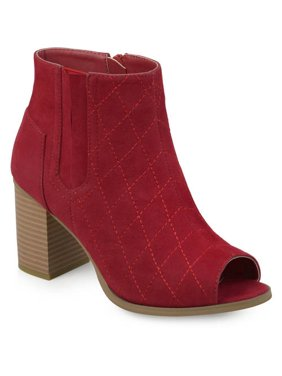 7885bb46e56 Product Image Womens Stacked Heel Open Toe Quilted Booties