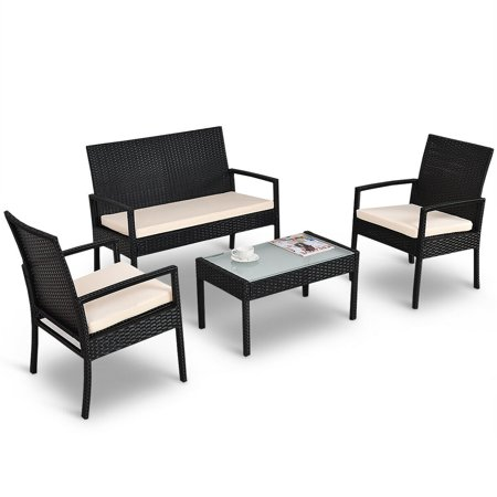 Surprising Costway 4 Pcs Outdoor Patio Furniture Set Table Chair Sofa Cushioned Seat Garden Interior Design Ideas Inesswwsoteloinfo