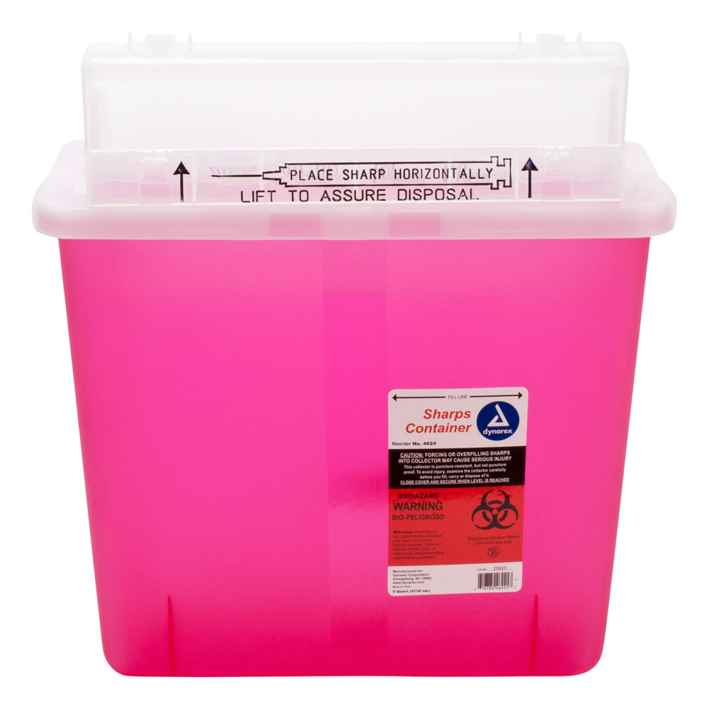 Dynarex 5 Quart Medical Grade Sharps Needle Container, PINK, DYX-4624