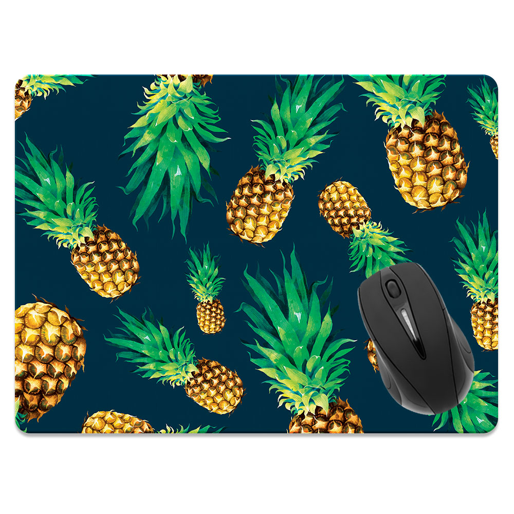 FINCIBO X-Large Size Rectangle Standard Mouse Pad, Fly Pineapple Pattern Dark Blue