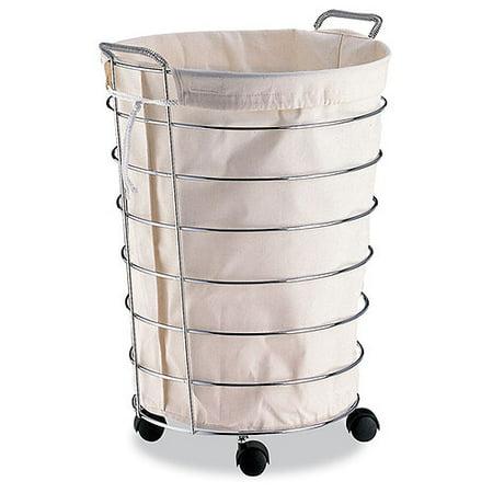 neu home rolling laundry basket with liner. Black Bedroom Furniture Sets. Home Design Ideas