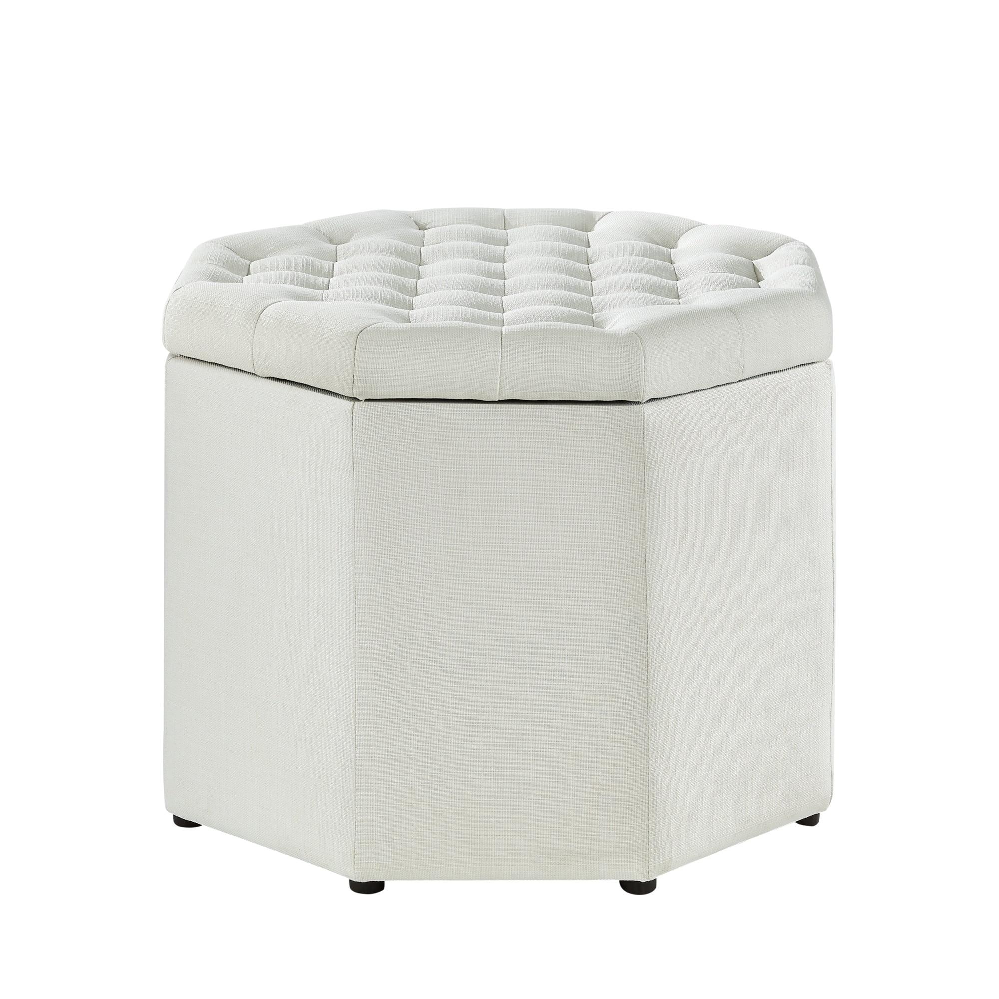 Inspired Home Amara Upholstered Tufted Octagon Storage
