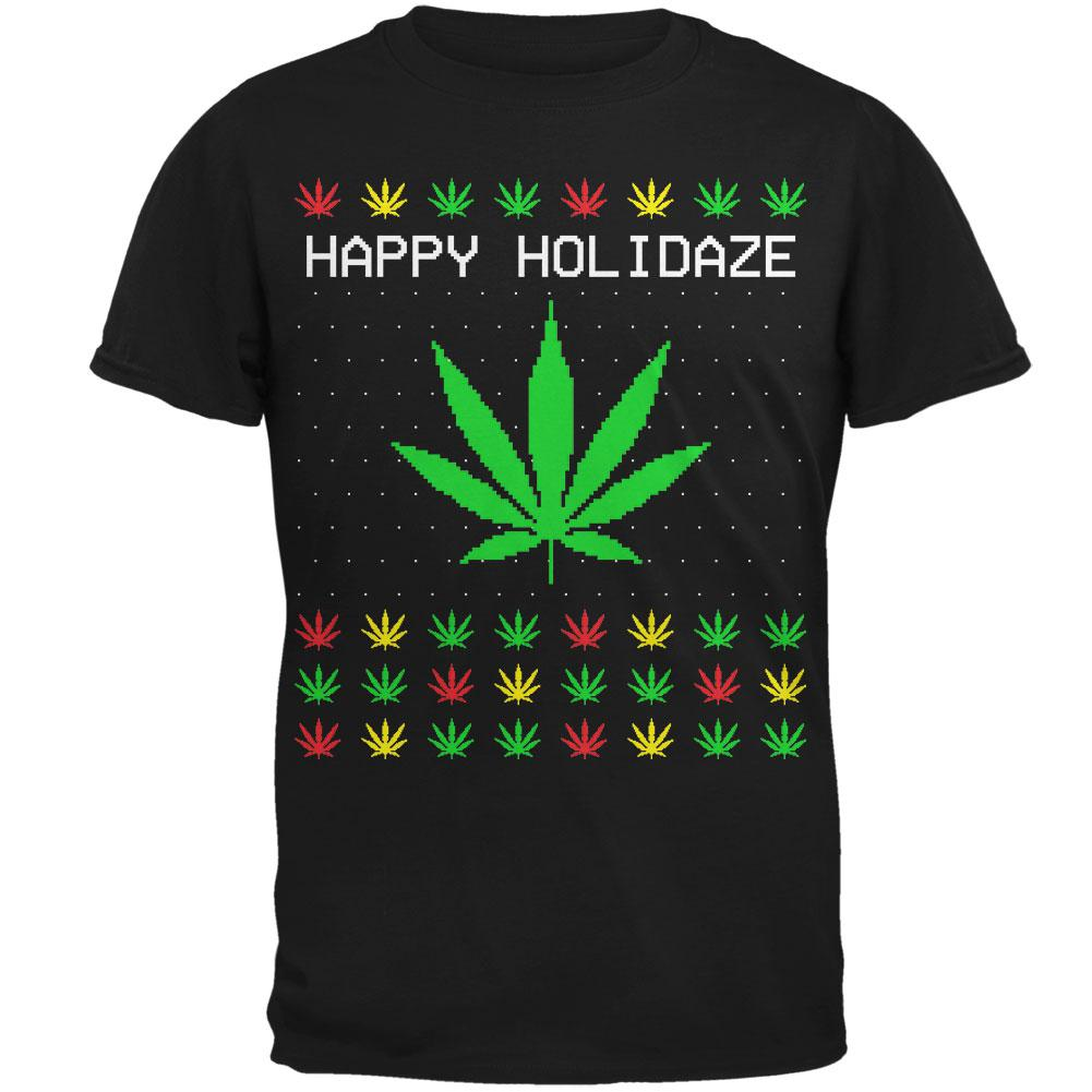 Pot Leaf Rasta Happy Holidaze Holidays Ugly Christmas Sweater Mens T Shirt