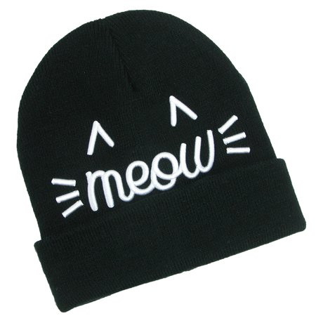 72a2a422f6f53 David   Young Women s Embroidered Meow Fine Knit Beanie Cap ...