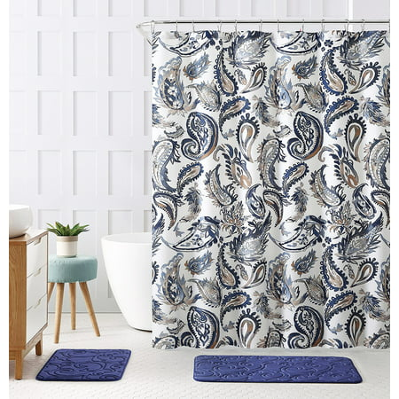 Decorative Navy Blue Gold Fabric Shower Curtain Watercolor Floral Paisley Design 72 X Inch