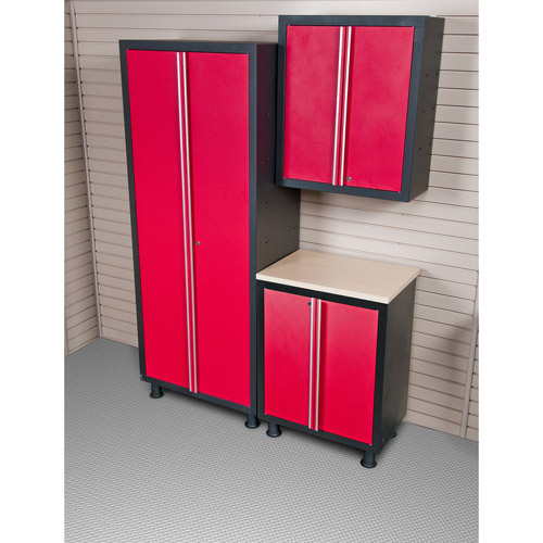 Coleman 3pc Garage Cabinet Set With 2 Door Base Unit, Red