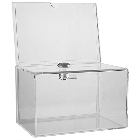 MCB Clear Acrylic Donation Collection Box with Back 4 x 6 Sign Display With Lock