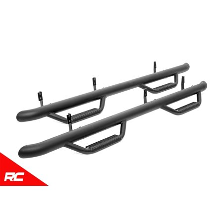 Rough Country Nerf Step Bars Fits 2019 [ Ford ] Ranger Crew Cab Side Hoop Steps Black (Fits Crew Cab)