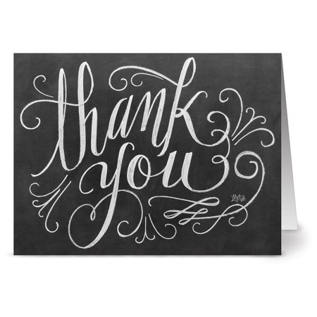 24 Chalkboard Thank You Note Cards - Handlettered Thank You - Blank Cards - Kraft Envelopes Included - Rustic Thank You Cards