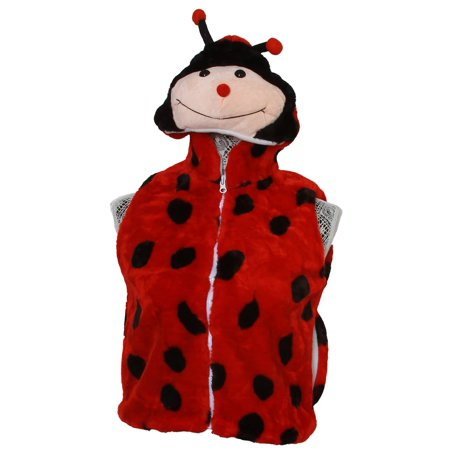 Youth Kids Wool Feel Ladybug Hooded Vest, Medium - image 2 of 2