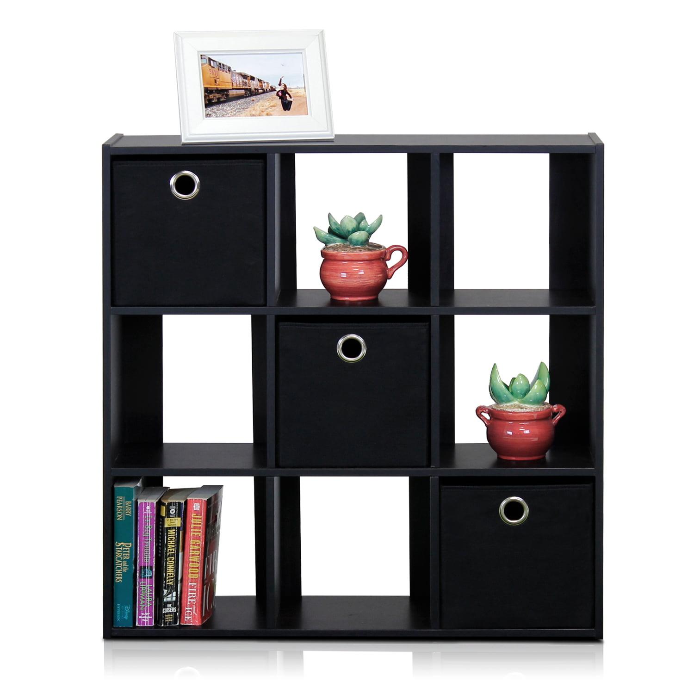 Furinno 13207 Simplistic 9 Cube Organizer With Bins   Walmart.com
