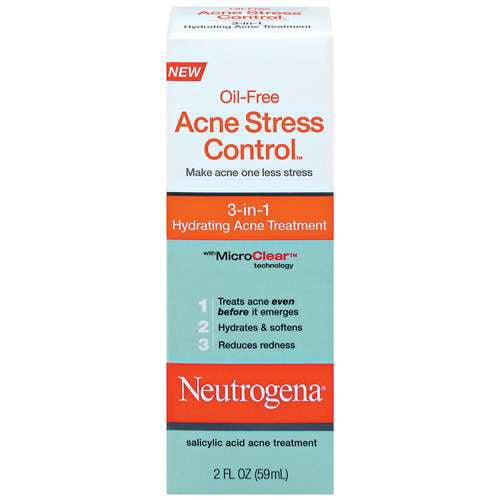 Neutrogena 3-1 Hydrating Acne Treatment Oil-Free Acne Stress Control 2 oz