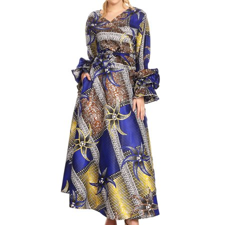 Sakkas Tale Women's Maxi Long Sleeve Wrap Dress with Pockets African Ankara Print - 118-RoyalYellowMulti - One Size Regular ()