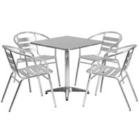 Lancaster Home 27.5-foot Square Aluminum Indoor/ Outdoor Table with 4 Slat Back Chairs