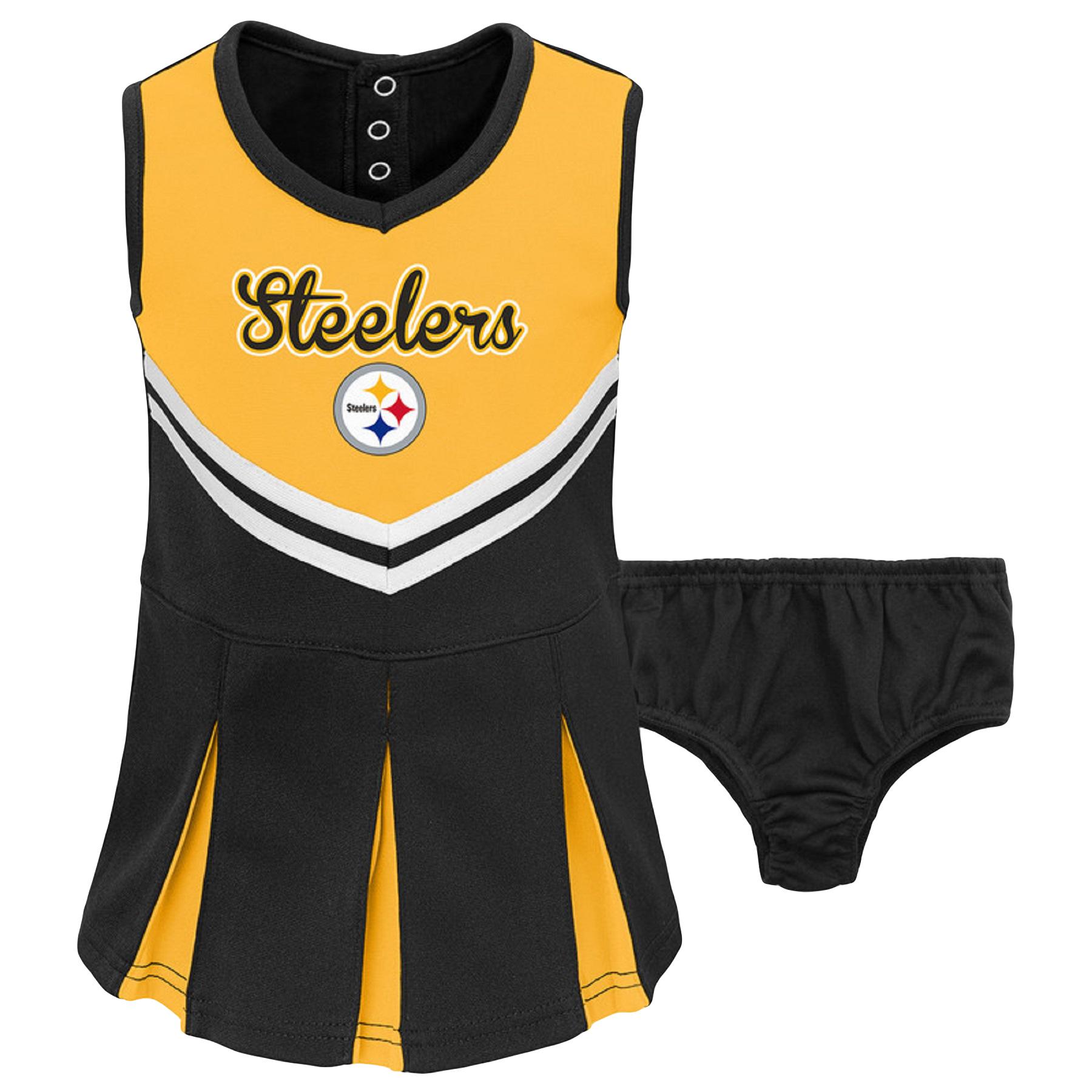 Infant Gold/Black Pittsburgh Steelers Cheerleader Dress & Bloomers Set