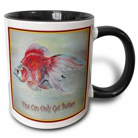 3dRose Fins Can Only Get Better- goldfish, ryukin, fantail, fish, aquarium fish, fresh water fish - Two Tone Black Mug,