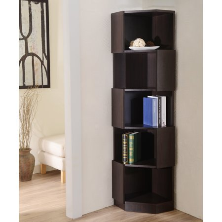 Furniture of america laina geometric espresso 5 shelf Modern corner bookshelf