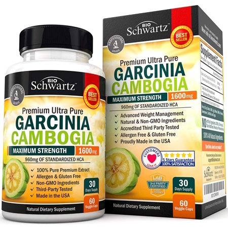 Garcinia Cambogia Pure Extract 1600mg with 960mg HCA. 60 Capsules, Fast Weight Loss & Fat Metabolism. Best Appetite Suppressant, Extreme Carb Blocker & Fat Burner for Women & (Best Dosage For Garcinia Cambogia)