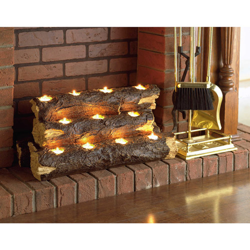Southern Enterprises Resin Tealight Fireplace Log Walmartcom