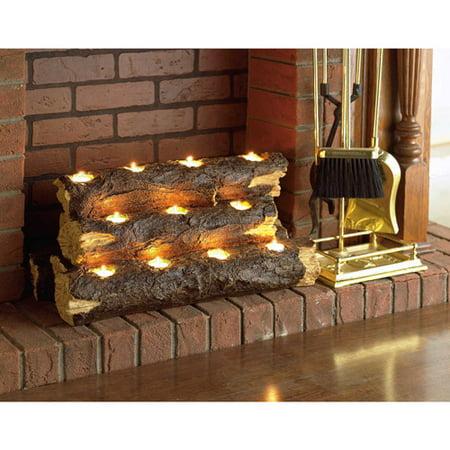 Southern Enterprises Resin Tealight Fireplace Log (Tealight Log)