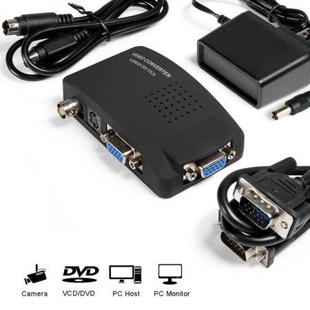 MakeTheOne CCTV Camera BNC S Video VGA to Laptop Computer PC VGA Monitor Converter Adapter