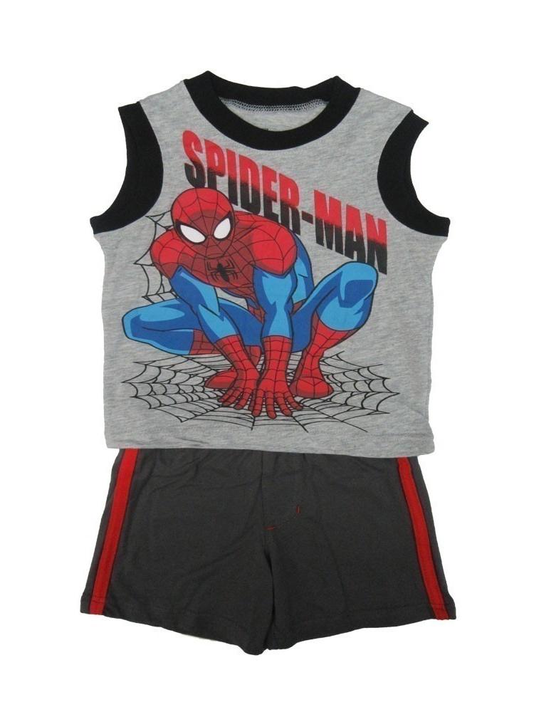 Marvel Little Boys Grey Spiderman Print Sleeveless Top 2 Pc Shorts Set