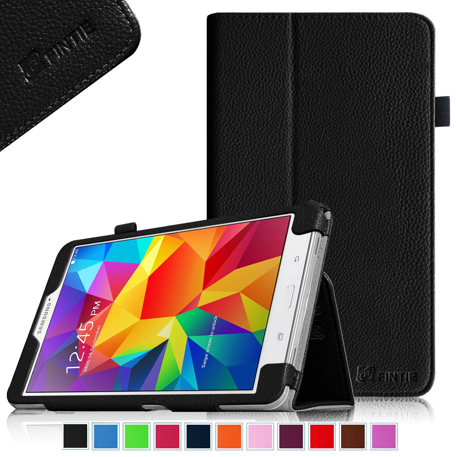 Fintie Case for Samsung Galaxy Tab 4 7.0 - Slim Fit Premium Vegan Leather Folio Stand Cover, Black