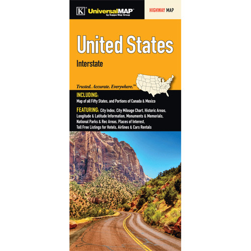 Universal Map United States Interstate Fold Map