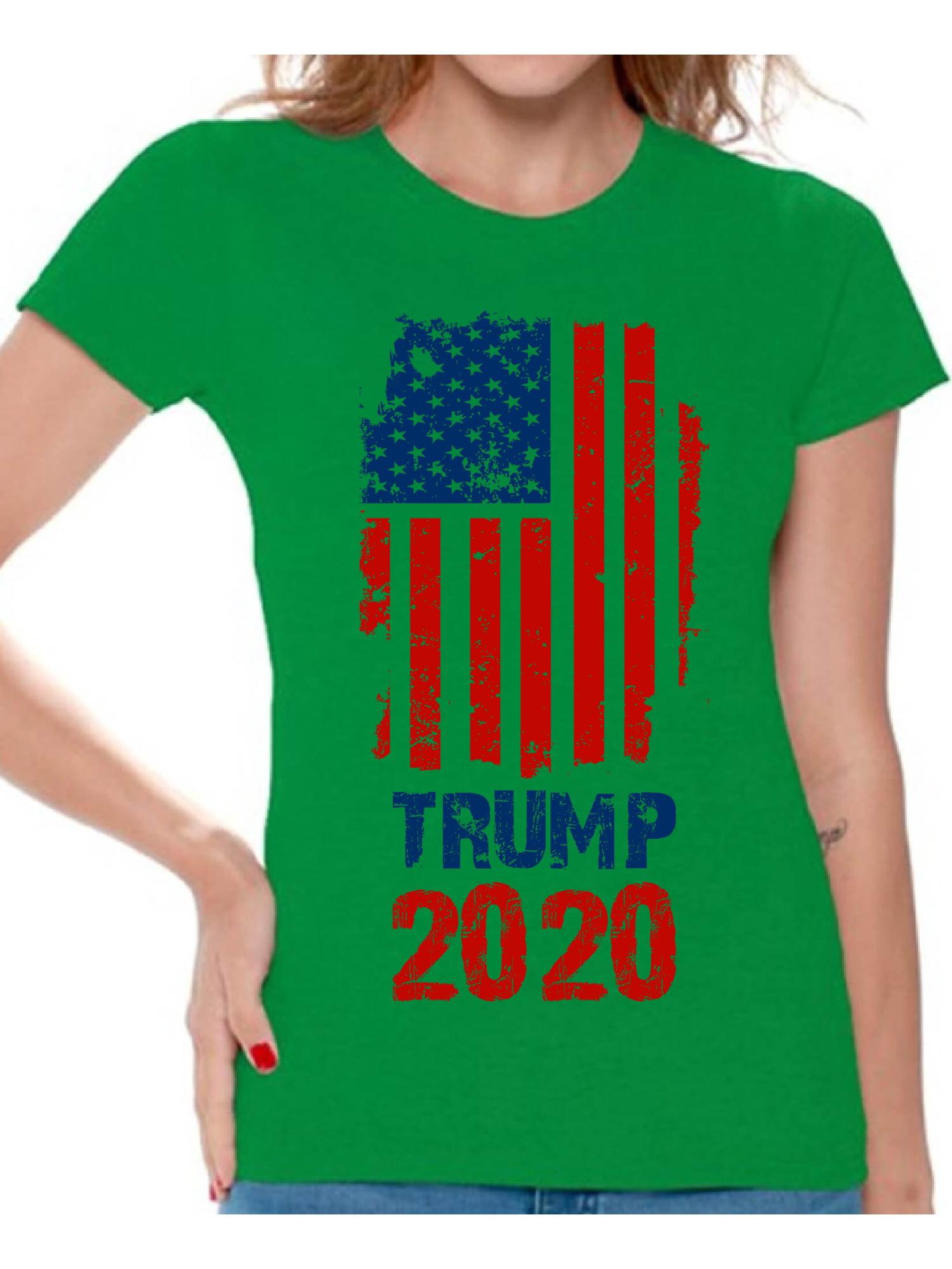 Best Women\'S Razor 2020 Awkward Styles Trump Flag 2020 Tshirt for Women Donald Trump T